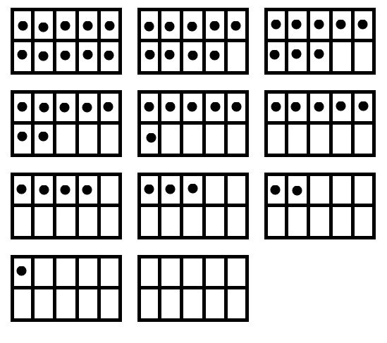 If children are unfamiliar with ten-frames, start with: