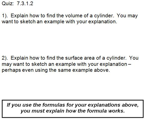 Explain how to find volume of cylinder