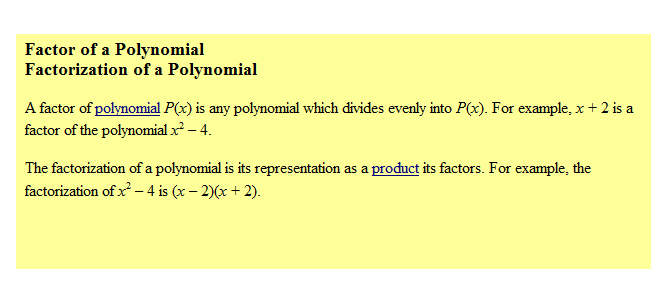 factor of a polynomial