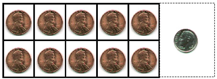 10 pennies & a dime