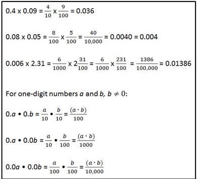 mulitplication of decimals and fractions