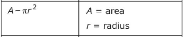 area and radius