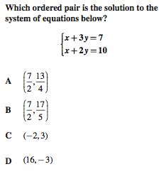 Which ordered pair is the solution?