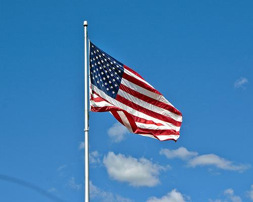 Flag on flagpole