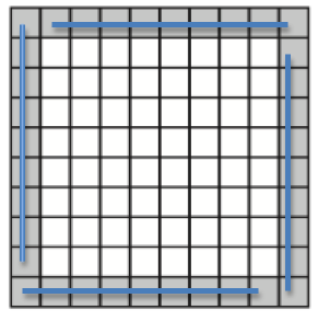 10 by 10 grid with blue lines