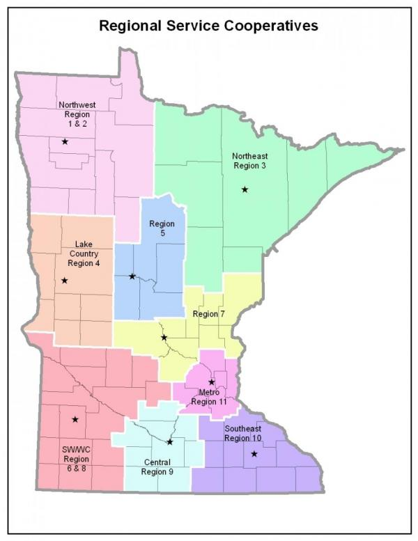 Regional Service Cooperatives Map